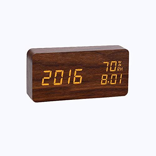 Chef Turk Sencilla De Madera Despertador Digital LED De Control De Brillo De La Temperatura Y Humedad De Alarma De Voz Estación De Control De Reloj De Cabecera Tabla Reloj De Madera 15 * 7 * 4cm Reloj