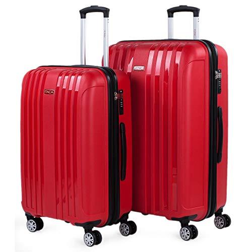 ITACA - Juego de 2 Maletas de Viaje rígidas con Ruedas Dobles de Polipropileno con Cerradura TSA, Ligeras y s, tamaño Mediana y Grande 760216, Color Rojo