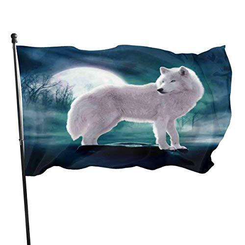 Wild dier witte wolf staande op steen tegen volle maan vlaggen huis Vlag Fade Resistant Outdoor Banner Yard vakantie en seizoensgebonden decoratieve vlaggen voor college weekend sport 2020-3x 5 Ft