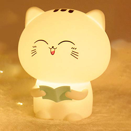 Night Light Kitty Recording Pat Silicone Baby Feeding Eyes Bedroom Bedside Table Lamp-LAN Wu Recording