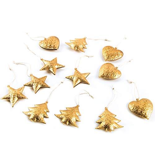 Logbuch-Verlag - 12 decorazioni per albero di Natale dorate, color rame e a forma di cuore