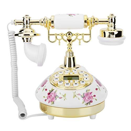 214 Telefon w stylu retro, pokrętło antyczne telefon stacjonarny z systemem FSK/DTMF Dual, funkcja błyskania i przywoływania zwrotów, staromodny telefon dekoracyjny do domu/biura, na prezent biznesowy