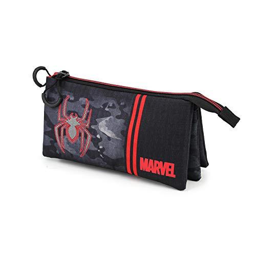 KARACTERMANIA Spiderman Dark-Estuche Portatodo Triple HS, Multicolor