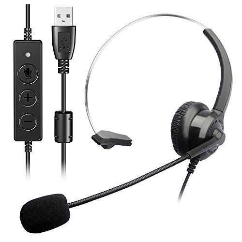 Computer Headset, USB Headset mit Geräuschunterdrückung, Mikrofon und Audio-Steuerung, PC Headset mit Kabel für Konferenzräume, Telefon, Laptop, Tablet, Skype Lync Softphone Call Center (Black)