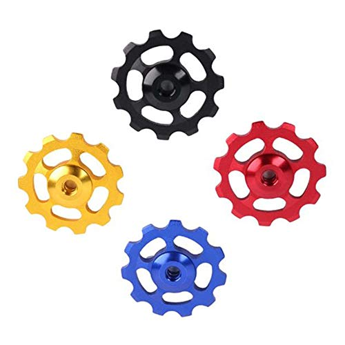 None Branded 4 Pcs Jockey Wheels 11T Multicolor Aluminum Guide Wheel Derailleur Pulley for Mountain Road Bicycle