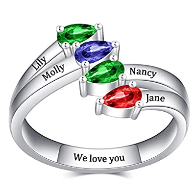 Amazon - Save 55%: Yoke Style Mothers Ring with 4 Birthstones, Sterling Silver Custom Engraved F…