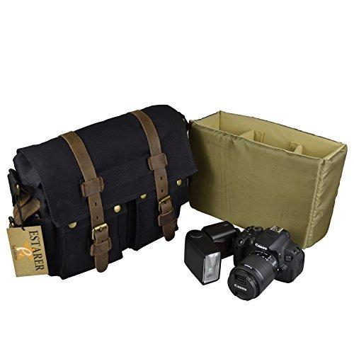 Estarer Vintage Borsa Messenger a Tracolla di Tela per Fotocamera DSLR SLR Nero