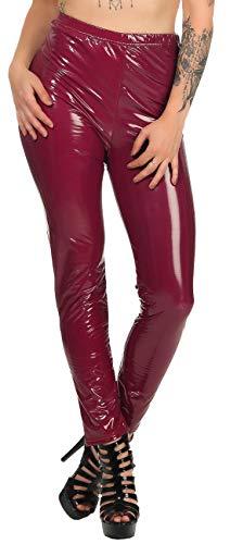 Firstclass Trendstore Leggings Wetlook Lackoptik Gr. S-XL, Damenleggings Damen Leggins (20200043 Burgundy M)