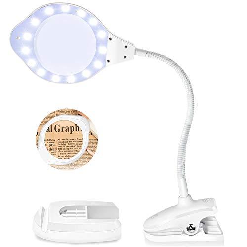 EletecPro Lupenleuchte 2X 4X Fach Vergrößerung,30 Watts mit LED Tageslicht, Klemme Kosmetiklampe Lupenlampe mit standfuß Arbeitsplatzlampe ideal für Präzisionsarbeit, Lesen (Weiß)