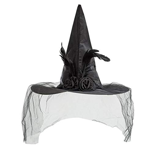 REDSTAR FANCY DRESS Ladies Witch Hat Lace Veil Halloween Bride Corpse Day fo the Dead