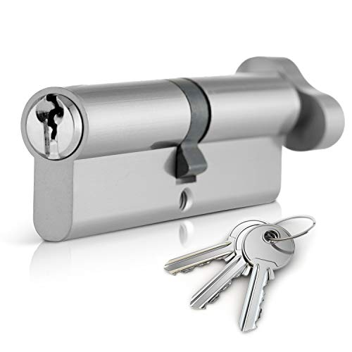 XFORT Thumb Turn Euro Cylinder Lock 35T/35 (70mm), Euro Door Barrel Lock with 3 Keys, Anti-Bump, Anti-Drill, Anti-Pick Door Lock with Key, High Security for Wooden, Metal, UPVC and Composite Doors.