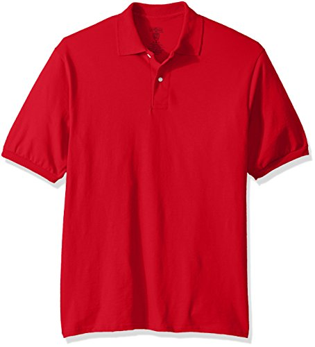 Jerzees Men's Spot Shield Short Sleeve Polo Sport Shirt, True red, X-Large