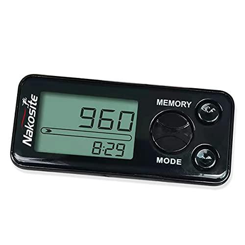 Nakosite PEDI2433-NVB - Podómetro de marcha sin conexión para mujer, hombre o niño, contador de pasos, distancia, calorías, clip, correa sin Bluetooth