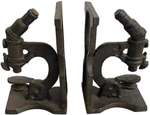Ertyuk Handmade Sculptures Sculptures Ornaments Statues Sculptures Statue Statues and Figurines Cast Iron Microscope Bookend Book Stand Retro Metal Ornament