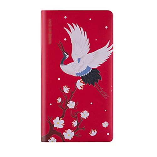 WPBOY Cuaderno portátil estilo chino retro diario multifunción plan, cuaderno de negocios y estudio papelería (PU, 96 hojas) (color: rojo)
