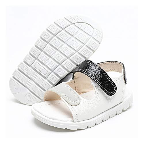 LAFEGEN Toddler Baby Boys Girls Sandals Rubber Sole Summer Outdoor Infant First Walker Crib Shoes, 3.5 Toddler, 01 White Grey Baby Sandals