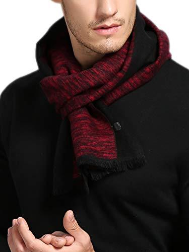 sciarpa uomo seta prettystern Sciarpa Di Seta Da Uomo Fleece Velo in Velluto Pile Effetto Caldo Come Lana Rosso Nero Screziato Zs11