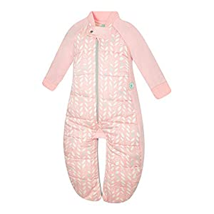 ergoPouch 3.5 TOG Sleep Suit Bag 100% Organic Cotton Filling with Cotton Sleeves and fold Over Mitts. 2 in 1 Wearable Blanket Sleeping Bag converts to Sleep Suit with Legs (Spring Leaves, 2-4 Years)
