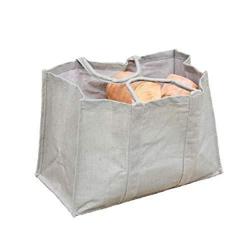 Premium Firewood Log Carrier & Tote Bag Jute Canvas Kindling Wood Holder...