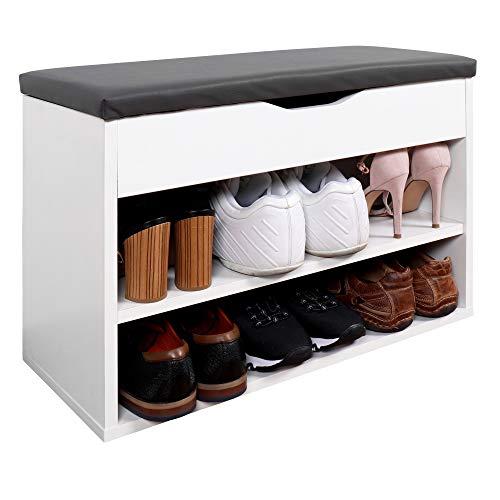 RICOO WM032-W-A, Meuble à Chaussures, 60x42x30cm, Bois Blanc, Banc Coffre Rangement, Commode Banquette, Meuble de...