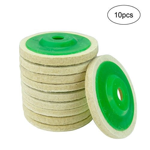 Hanperal 10pcs Round Wool Polishing Buffing Wheel Pad, Wool Felt Buffing Wheels Felt Polishing Pads for Angle Grinder Rotary Tool Abrasive Grinding