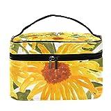 Bolsa de maquillaje con diseño de girasoles y girasoles, ideal como bolsa de maquillaje, organizador con cremallera, para mujeres y niñas