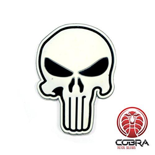 Cobra Tactical Solutions Punisher Castigador Cortésmente Craneal Parche PVC Táctico Moral Militar con Cinta adherente de Airsoft Paintball para Ropa de Mochila Táctica