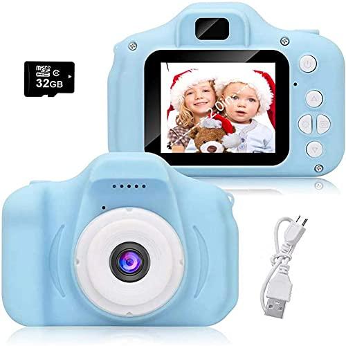 Cámara para Niños, Camara Fotos Infantil, Cámara Digital para Niños con Tarjeta TF 32 GB, Lector de Tarjetas, Niños y Niñas Regalo (BLU)