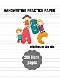 handwriting practice paper with lines for abc kids with latter: 200 Blank handwriting practice paper with dotted lines