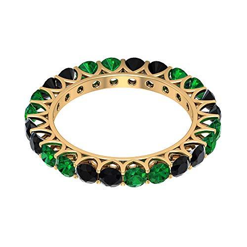 Anillo de eternidad de ónix negro de 3 mm, anillo de eternidad esmeralda de 3 mm, anillo de boda dorado, 14K Oro amarillo, Size:EU 48