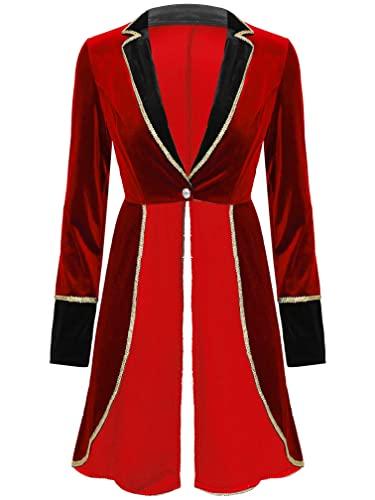 MSemis Disfraz de Directora de Circo para Mujer Disfraz de Holloween Carnaval Navidad Chaqueta de Domadora Traje Mujer Talla Grande Rojo XL