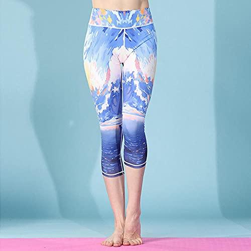 ArcherWlh Leggings Mujer,Europa y los Estados Unidos Modelos de explosión 3D Impresión Digital de Siete Puntos Pantalones de Yoga de Verano Nuevo Gimnasio de suéteres-Mar_S