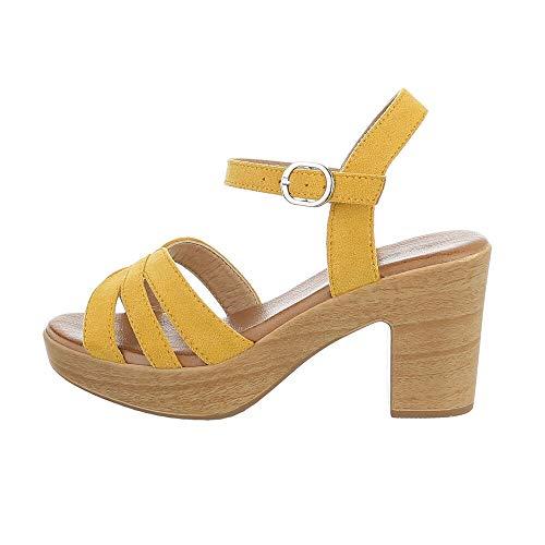 Ital Design Damenschuhe Sandalen & Sandaletten High Heel Sandaletten, E016-4-, Kunstleder, Gelb, Gr. 36