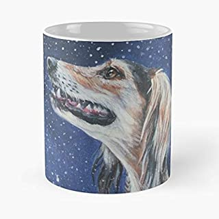 Saluki Sight Hound Fine Art Painting Realistic Portrait Dog C 11 oz Mug Special gift for Halloween