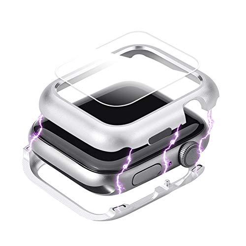 Cubierta magnética Aplicar a Apple Watch Case Apple Watch 5 4 3 44mm / 40mm Iwatch Band 5 42mm / 38mm Protector de Pantalla de Cristal Protector (Color : Silver, Dial Diameter : 38mm)