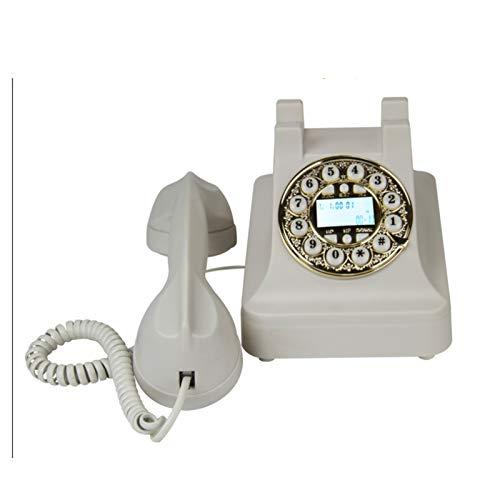SQL Teléfono multifuncional de línea fija retro clásico adecuado para teléfono de madera y metal para el hogar, oficina, casa, hotel estrella, galería de arte, blanco