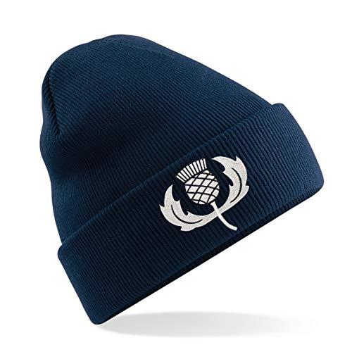 Adulte Unisexe vintage brodée chardon écossais Écosse Rugby Bonnet d'hiver Chapeau à partir d'impression Me d'une Chemise en bleu marine - - Taille Un
