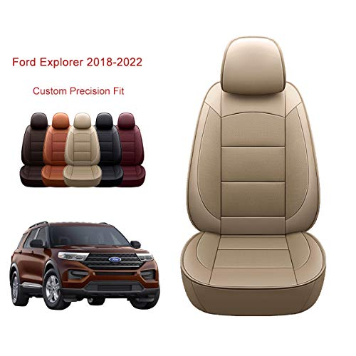 OASIS AUTO 2016-2019 Explorer Custom Fit PU Leather Seat Covers Full Set Compatible with Explorer 2016 2017 2018 2019 (2016-2020 Explorer, TAN)