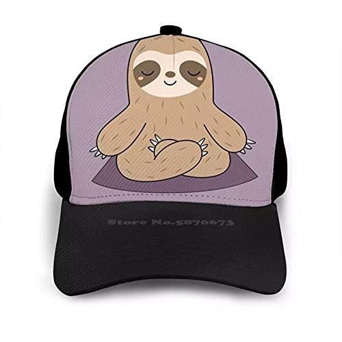 OEWFM Gorra de Beisbol Kawaii Cute Yoga Meditando Gorra Plana Sombrero Curvo Malla Snap Back Gorra Kawaii Adorable Chibi Sloth Regalo