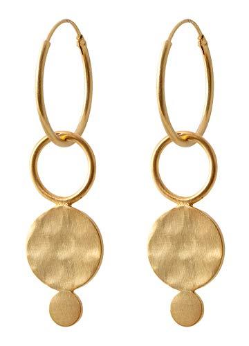 Pernille Corydon creolen hanger plaatje ring goud - Saga Serie oorbellen 925 zilver verguld - E410g