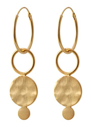 Pernille Corydon Creolen Anhänger Plättchen Ring Gold - Saga Serie Ohrhänger 925 Silber Vergoldet - E410g