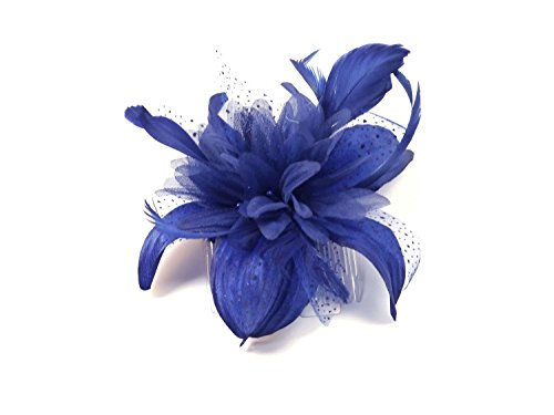 Flower and Feather Fascinator on a clear comb in Royal Blue