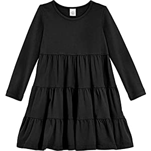 City Threads Girls' Super Soft Cotton Long Sleeve Tiered Dress Princess Made in USA