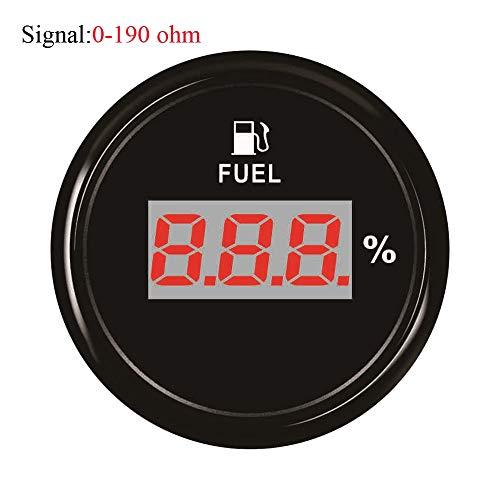 Odometer Spur Kraftstoffanzeige LCD-Anzeige 52mm Marine-Auto-Digital-Kraftstoffanzeige 240~33ohm / 0~190ohm Ölzähler ZHQHYQHHX (Color : Black 190 ohm, Size : Kostenlos)