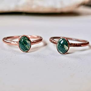 Dainty, Stackable, Minimalist Green Moss Agate Ring