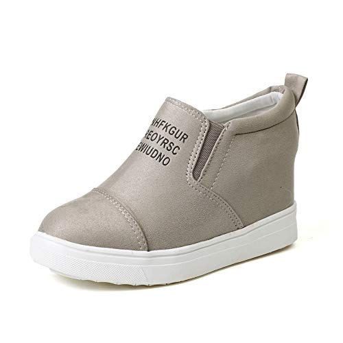 Sneakers Donna Zeppa Interna PelleAlta Platform Scamosciato StivalettiTacco 7 CM Mocassini Piatto Scarpe Eleganti Moda Kaki 36