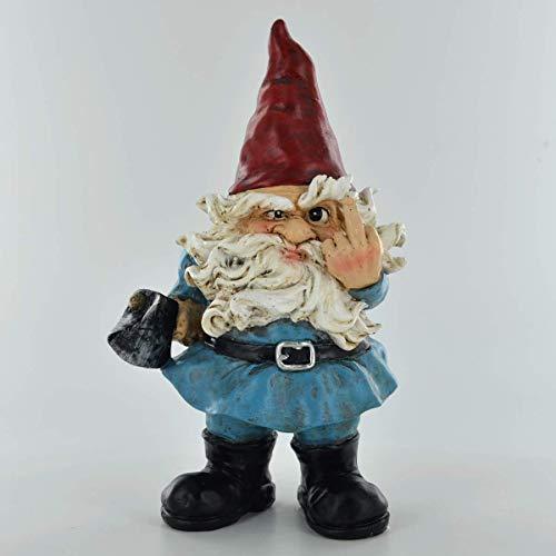 Nain de jardin - Doigt d'honneur - Décoration d'intérieur - Cadeau fantaisie - Figurine comique - Lutin de 18,5 cm de hauteur