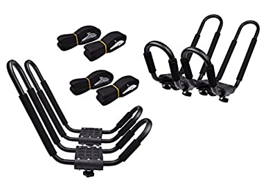 Lifetime Warranty TMS® 2 Pairs J-Bar Rack HD Kayak Carrier Canoe Boat Surf Ski Roof Top Mount Car SUV Crossbar
