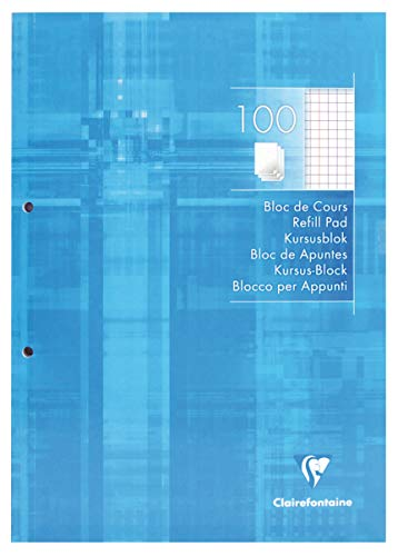 Clairefontaine 5815C Kursusblock (mit 100 Blatt, kariert mit Rand, DIN A4, 21 x 29,7 cm, ideal für die Schule) 1 Stück weiß