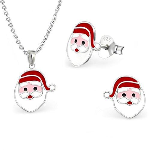 Nikolaus Set Anhänger Kette Mädchen Ohrringe 925 Echt Silber Kinder Ohrstecker Halskette Weihnachtsmann